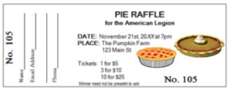 Pie Raffle Ticket